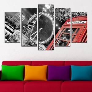 0027 Wall art decoration (set of 5 pieces)  Night in London