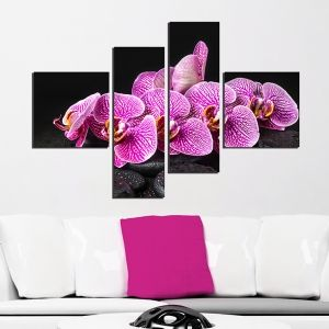 0260_2 Wall art decoration (set of 4 pieces) Purple orchids