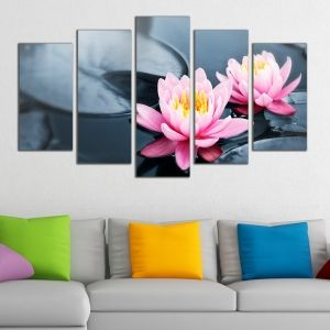 0262 Wall art decoration (set of 5 pieces) Water lilies