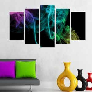 0277 Abstract wall art decoration (set of 5 pieces) Color smoke