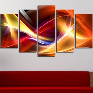 0280 Abstract wall art decoration (set of 5 pieces) Color waves