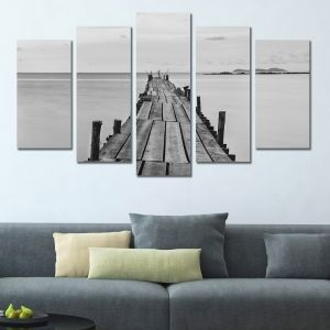 0309 Wall art decoration (set of 5 pieces)  Wooden pier