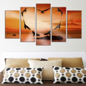 0312 Wall art decoration (set of 5 pieces) Romantic sunset