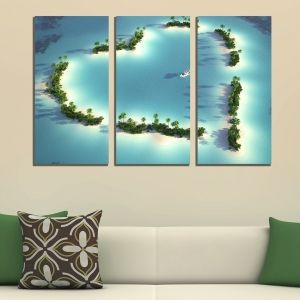 0315 Wall art decoration (set of 3 pieces) Island of love