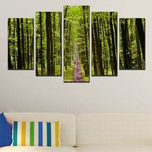 0318 Wall art decoration (set of 5 pieces) Forest path