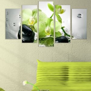 0323 Wall art decoration (set of 5 pieces) Pale green orchids