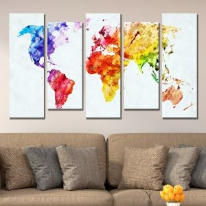 0336 Wall art decoration (set of 5 pieces) Abstract map