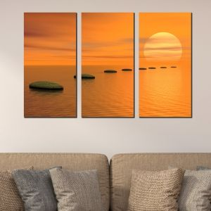 0348 Wall art decoration (set of 3 pieces)  Sunset