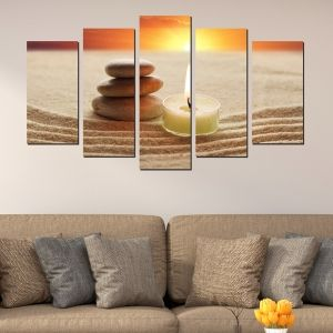 0350 Wall art decoration (set of 5 pieces) Zen - sunset