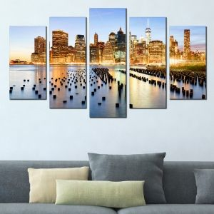0379 Wall art decoration (set of 5 pieces) New York