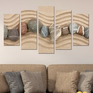 0046 Wall art decoration (set of 5 pieces) Sand and stones