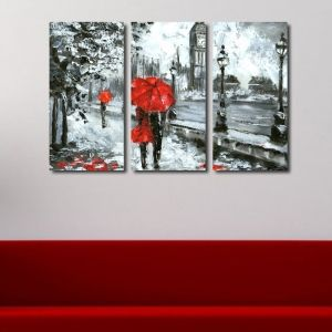 0418 Wall art decoration (set of 3 pieces) Lovers in London