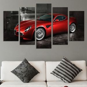 0446 Wall art decoration (set of 5 pieces) Red car