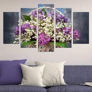 0452 Wall art decoration (set of 5 pieces) Lilac in a basket