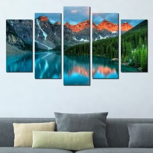 0457 Wall art decoration (set of 5 pieces) Мountain freshness