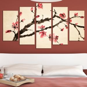 0462 Wall art decoration (set of 5 pieces) Blooming brunch