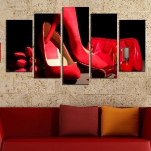 0464 Wall art decoration (set of 5 pieces) Red shoes