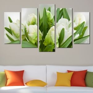 0475 Wall art decoration (set of 5 pieces) White tulips