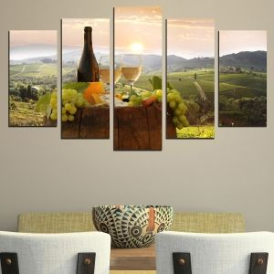 0481 Wall art decoration (set of 5 pieces) Landscape with white wine and grapes