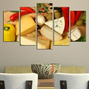 0485 Wall art decoration (set of 5 pieces) Composition with cheese