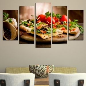0489 Wall art decoration (set of 5 pieces) Vegetarian pizza