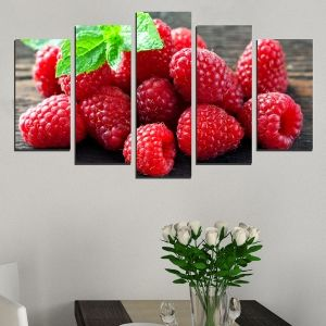 0497 Wall art decoration (set of 5 pieces) Raspberries