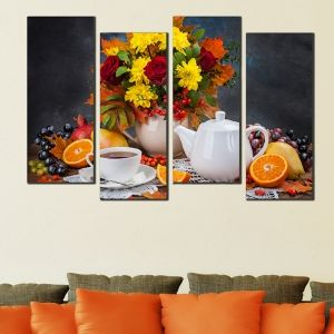 0499  Wall art decoration (set of 4 pieces) Composition with tea and flowers