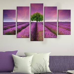 0501 Wall art decoration (set of 5 pieces) Landscape with lavender field