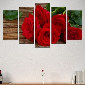 0505 Wall art decoration (set of 5 pieces) Red roses
