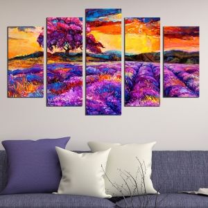 0506 Wall art decoration (set of 5 pieces) Landscape in purple