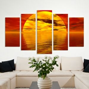 0056 Wall art decoration (set of 5 pieces) Romantic sunset