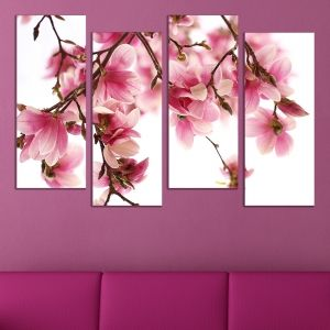 0511  Wall art decoration (set of 4 pieces) Beautiful Magnolia