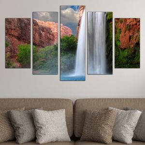 0521 Wall art decoration (set of 5 pieces) Landscape with waterfall