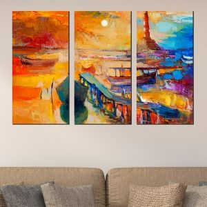 0522 Wall art decoration (set of 3 pieces) Sea landscape in orange