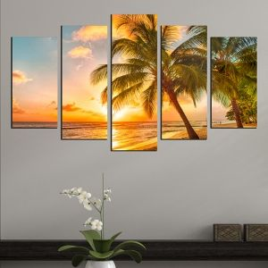 0534 Wall art decoration (set of 5 pieces) Exotic beach