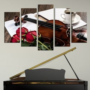0551 Wall art decoration (set of 5 pieces) Romantic composition with roses and violin