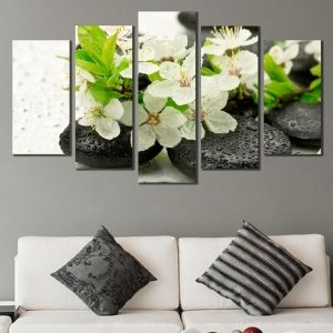 0552 Wall art decoration (set of 5 pieces) Composition with stones and blooming brunch