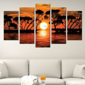 0556 Wall art decoration (set of 5 pieces)  Exotic sunset