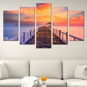 0559 Wall art decoration (set of 5 pieces)  Sea landscape with pier
