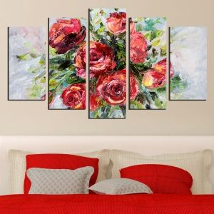 0563 Wall art decoration (set of 5 pieces) Red roses