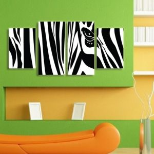 0067 Wall art decoration (set of 4 pieces) Zebra