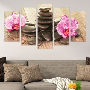 0582 Wall art decoration (set of 5 pieces) Orchids and stones on wooden background