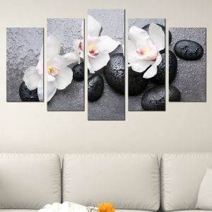 0594 Wall art decoration (set of 5 pieces) Zen composition with orchids and stones