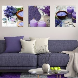 0595 Wall art decoration (set of 3 pieces) The scent of lavender