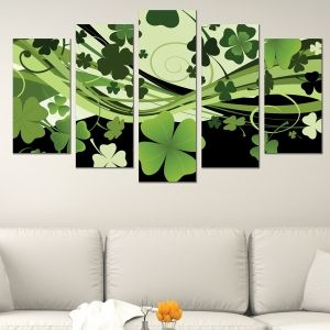 0598 Wall art decoration (set of 5 pieces) Clovers for luck