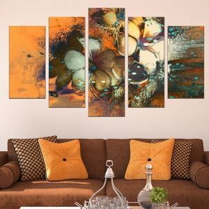 0600 Wall art decoration (set of 5 pieces) Art flowers