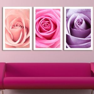 0073 Wall art decoration (set of 3 pieces) Roses
