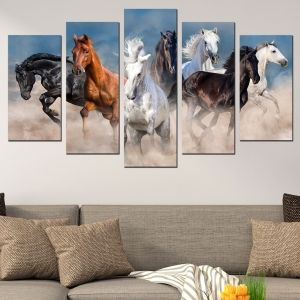 0617 Wall art decoration (set of 5 pieces) Wild horses