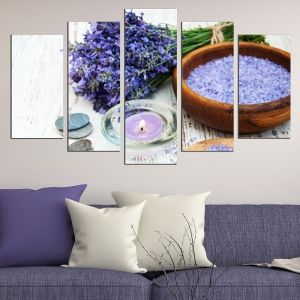 0619 Wall art decoration (set of 5 pieces) Lavender aroma