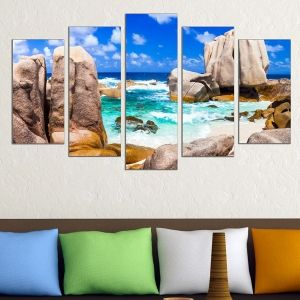 0621 Wall art decoration (set of 5 pieces) Landscape rocky wild beach